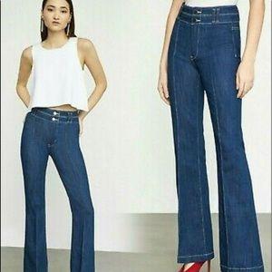 BCBG MaxAzria Pintuck Flared Jeans in Rinse Indigo